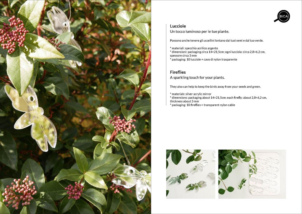 Lucciole spaventapasseri decorative | decorazioni per piante in vaso e giardino in specchio acrilico | design Milano | BiCA-Good Morning Design