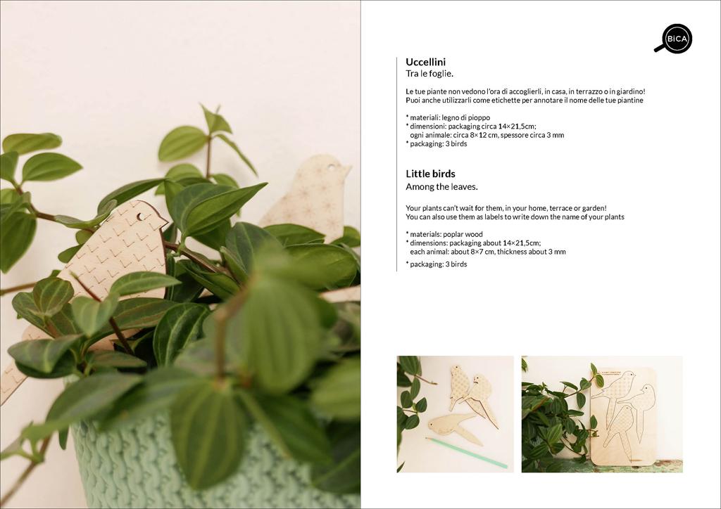Uccellini tra le foglie | etichette in legno decorative | decorazioni per piante in vaso e giardino in specchio acrilico | design Milano | BiCA-Good Morning Design