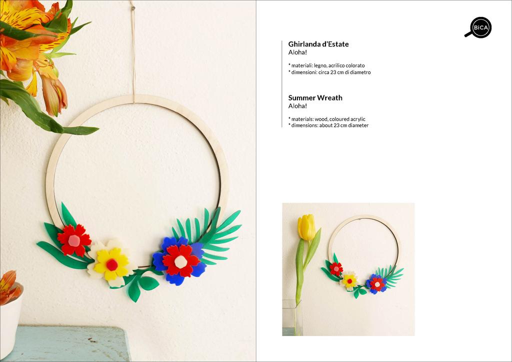 Ghirlanda estiva in legno e fiori colorati | decorazioni floreali casa | design Milano | BiCA-Good Morning Design