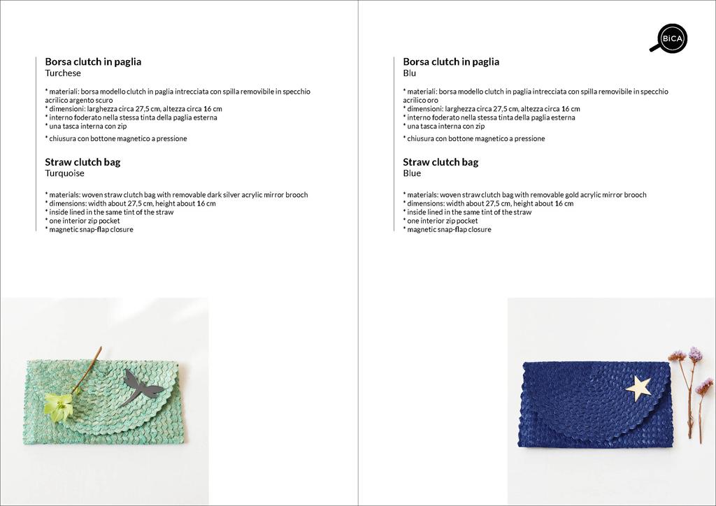 Borse clutch colorate azzurro e blu in paglia intrecciata | straw clutch bag | design italiano | BiCA-Good Morning Design