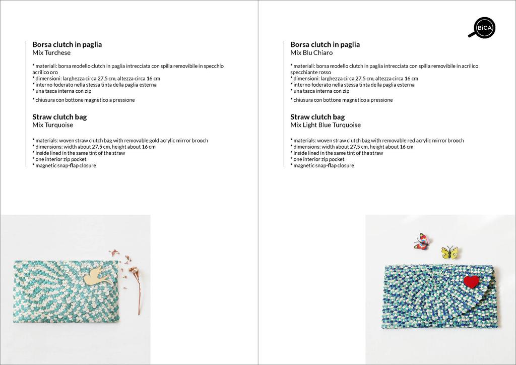 Borse clutch colorate bianco azzurro e blu in paglia intrecciata | straw clutch bag | design italiano | BiCA-Good Morning Design