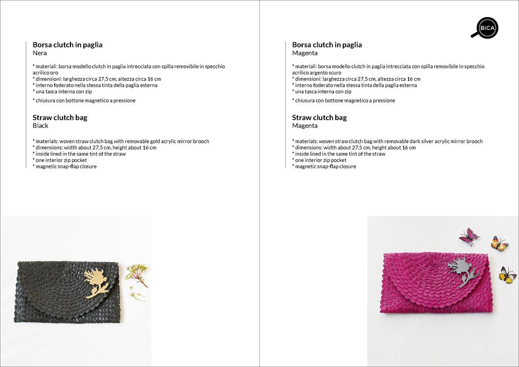 Borsa clutch nero e fucsia in paglia intrecciata | straw clutch bag | design italiano | BiCA-Good Morning Design