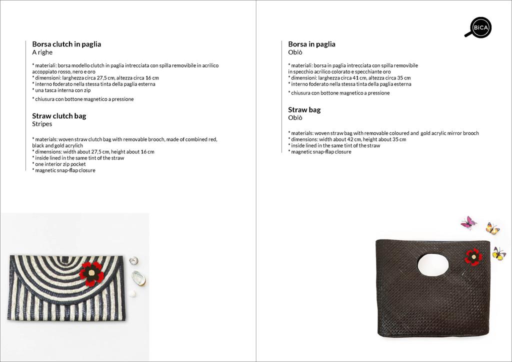 Borsa clutch nera e a righe in paglia intrecciata | straw clutch bag | borse con spilla | BiCA-Good Morning Design