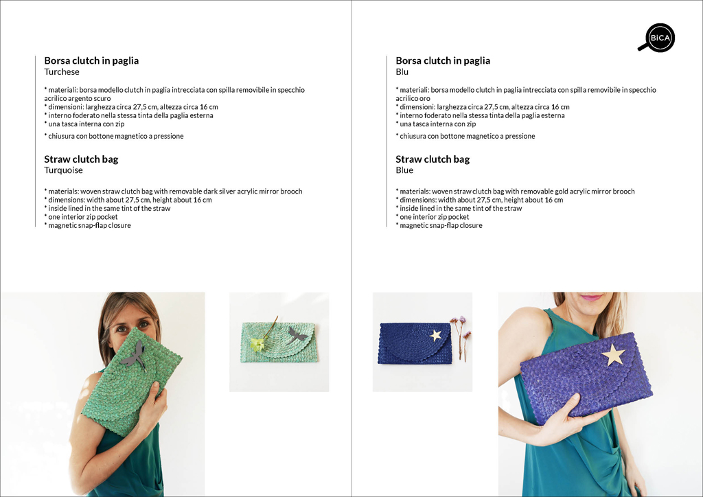 Borse clutch colorate azzurro e blu in paglia intrecciata | straw clutch bag | design italiano | BiCA-Good Morning Design
