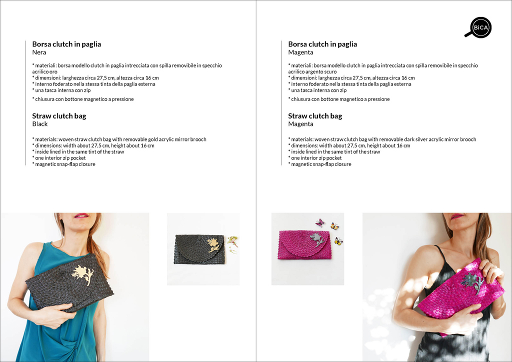 Borsa clutch nero e fucsia in paglia intrecciata | straw clutch bag | design italiano | BiCA-Good Morning Design