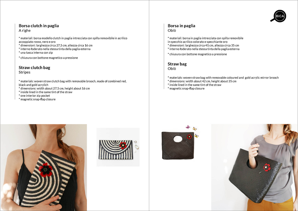 Borsa clutch nera e a righe in paglia intrecciata | straw clutch bag | borse con spilla | BiCA-Good Morning Design