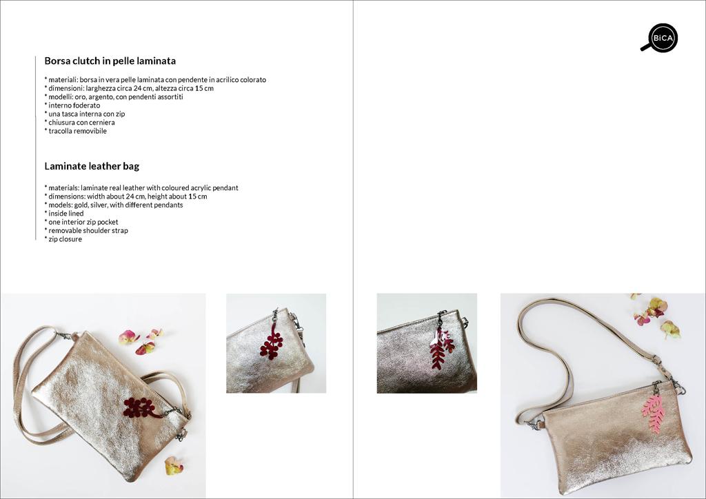 borsa in vera pelle laminata oro e argento | borsetta tracolla dorata e argentata | Milano borse | BiCA-Good Morning Design