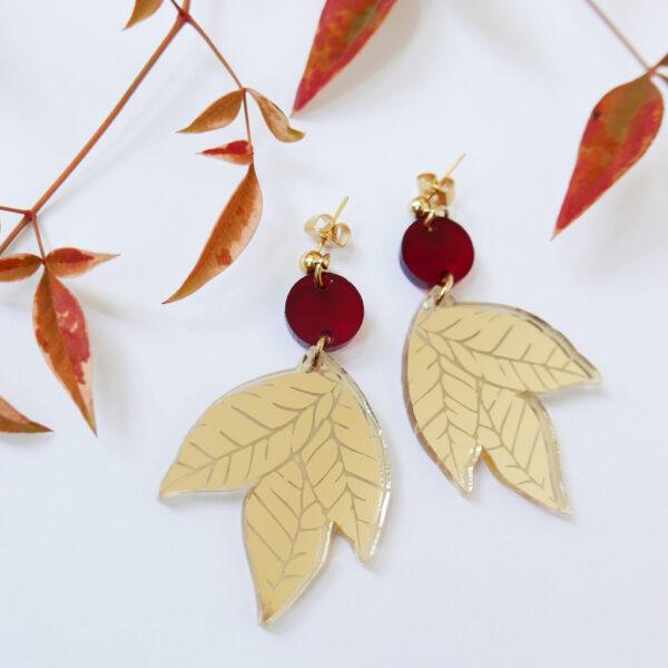AUTUNNO ORECCHINI | orecchini pendenti foglia oro | BiCA-Good Morning Design