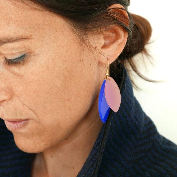 Foliage Rosa e blu orecchini pendenti | BiCA-Good Morning Design