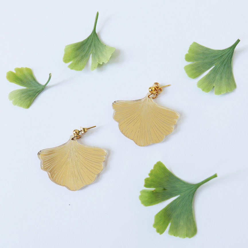 GINKGO BILOBA EARRINGS | orecchini pendenti oro | BiCA-Good Morning Design