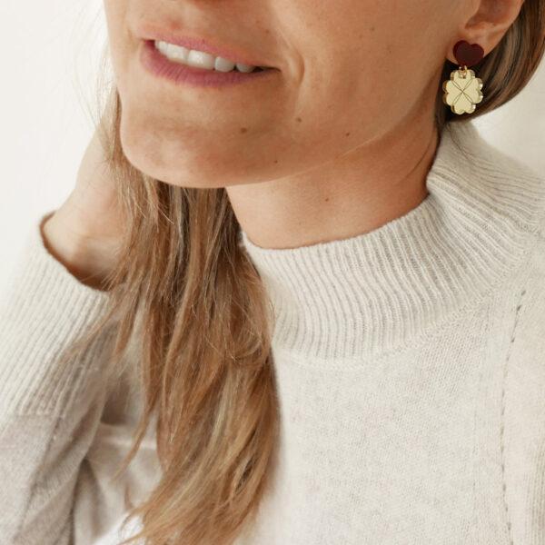 GOOD LUCK. ORECCHINI | orecchini pendenti con cuore e quadrifoglio | Regalo Natale e San Valentino | BiCA-Good Morning Design