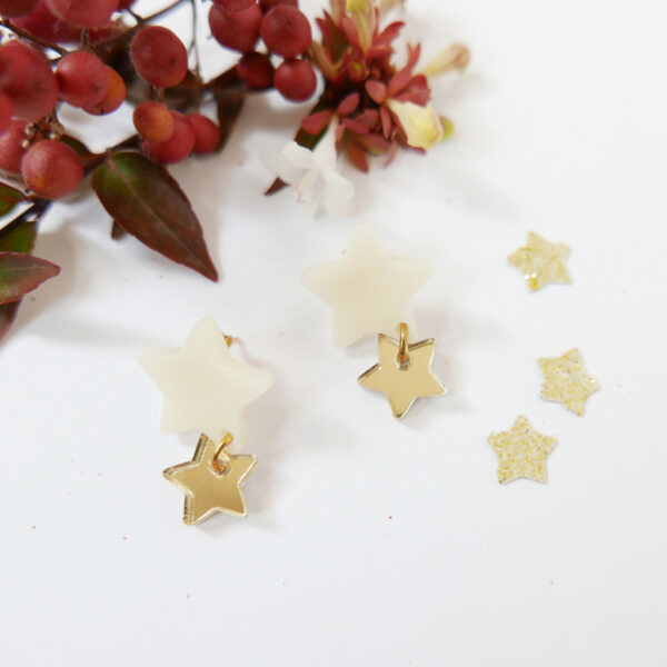 STELLA STELLINA ORECCHINI | orecchini a stella oro e avorio | REGALO NATALE | BiCA-Good Morning Design