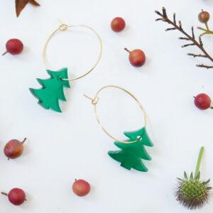 TREES. ORECCHINI A CERCHIO | orecchini pendenti con ALBERI DI NATALE | Regalo Natale | BiCA-Good Morning Design