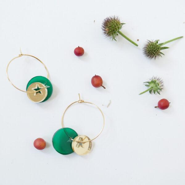 TWINKLE.GREEN. ORECCHINI A CERCHIO   orecchini pendenti con stelle   Regalo Natale   BiCA-Good Morning Design