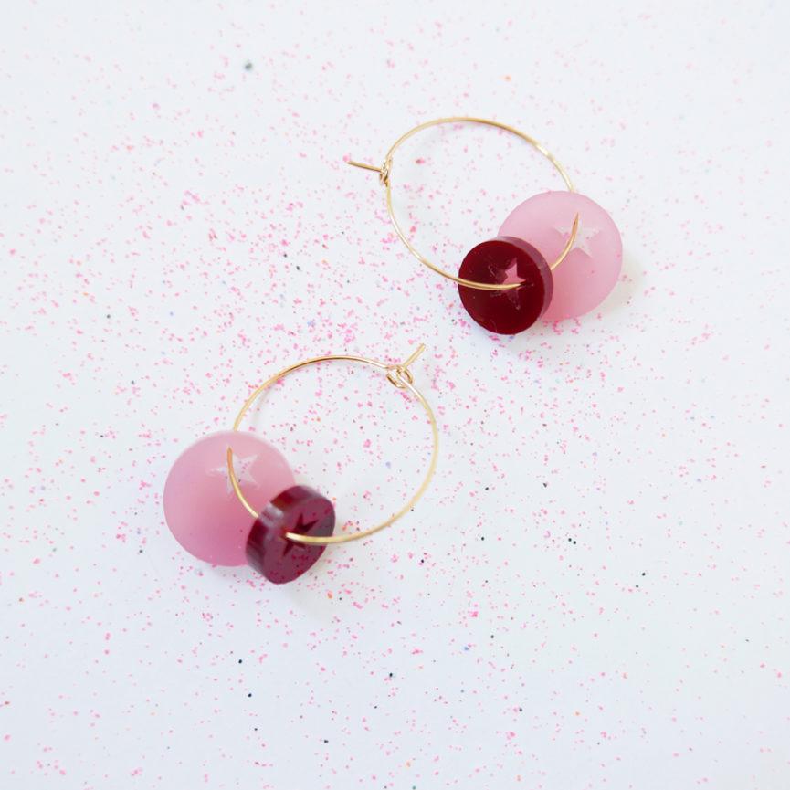 TWINKLE. Pink. ORECCHINI A CERCHIO | orecchini pendenti con stelle | Regalo Natale | BiCA-Good Morning Design