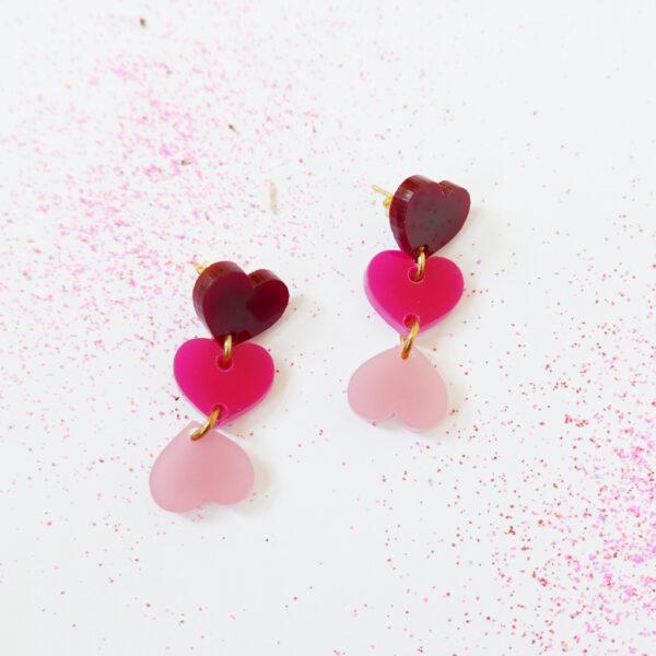 XXX. ORECCHINI CUORI | orecchini pendenti con cuori | Regalo Natale e San Valentino | BiCA-Good Morning Design
