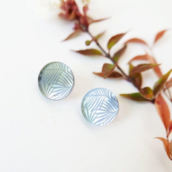 ORECCHINI tondi DOTS. ARGENTO SCURO   orecchini texture foglie   BiCA-Good Morning Design