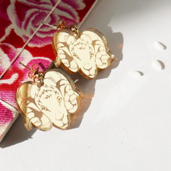Capra Orecchini Zodiaco Cinese oro | Oroscopo cinese | calendario cinese | BiCA-Good Morning Design