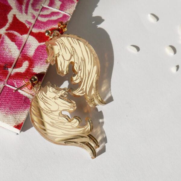 Cavallo Orecchini Zodiaco Cinese oro | Oroscopo cinese | calendario cinese | BiCA-Good Morning Design