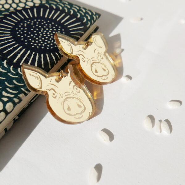 Maiale Orecchini Zodiaco Cinese oro | Oroscopo cinese | calendario cinese | BiCA-Good Morning Design