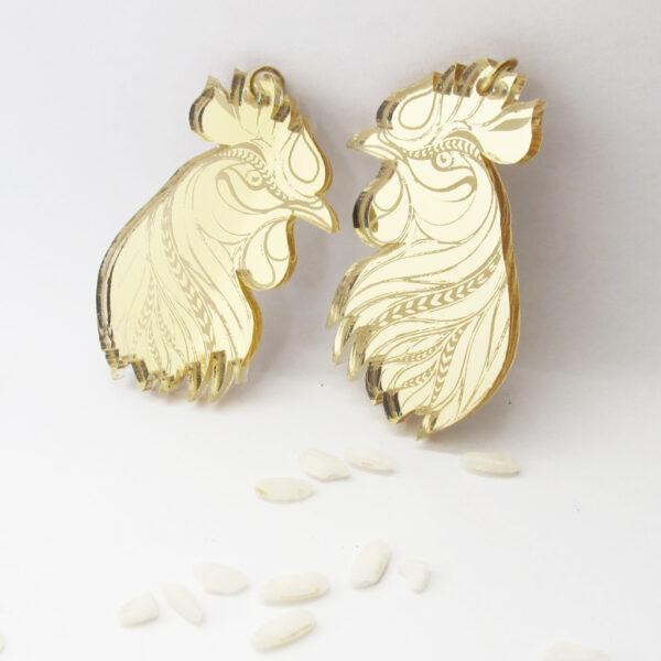 Gallo Orecchini Zodiaco Cinese oro | Oroscopo cinese | calendario cinese | BiCA-Good Morning Design
