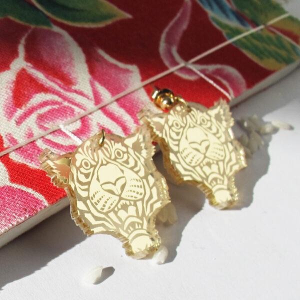 Orecchini Tigre Zodiaco Cinese oro | Oroscopo cinese | calendario cinese | BiCA-Good Morning Design