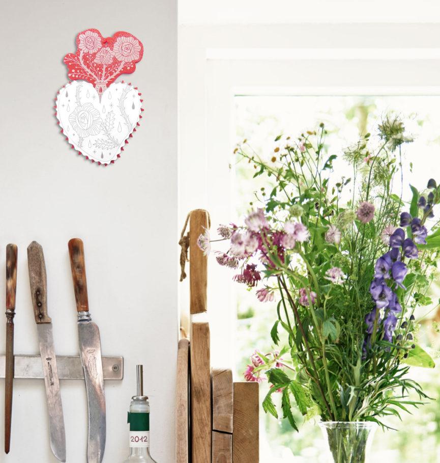 Cuore Sacro da parete | Ex-Voto Specchio decorativo | illustrazione di Enrica Mannari per BiCA-Good Morning Design