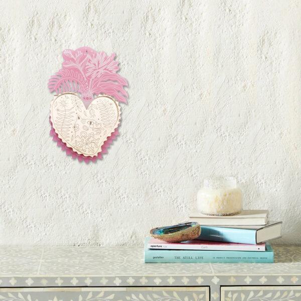 Cuore Sacro da parete   Ex-Voto Specchio decorativo   illustrazione di Enrica Mannari per BiCA-Good Morning Design