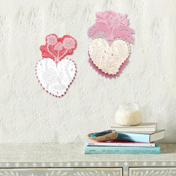 Cuori Sacri da parete | Ex-Voto Specchio decorativo | illustrazione di Enrica Mannari per BiCA-Good Morning Design