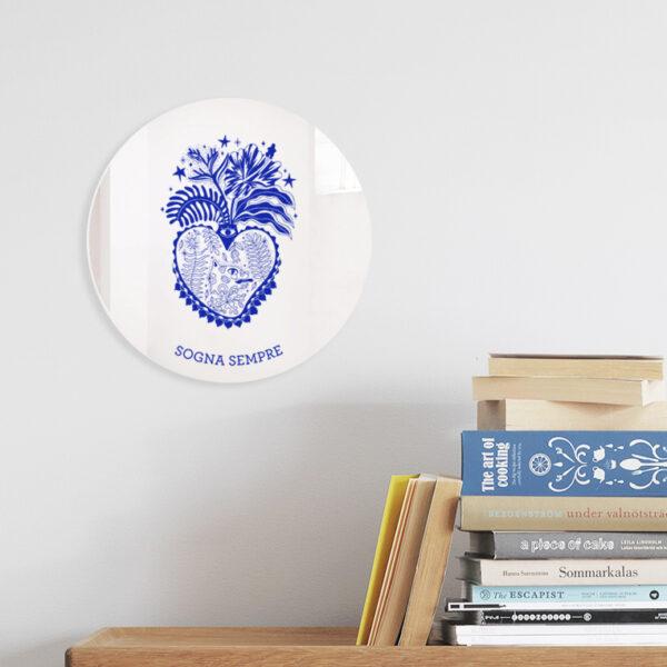 Specchio ex-voto decorativo | Cuori Sacri illustrazione di Enrica Mannari | BiCA-Good Morning Design