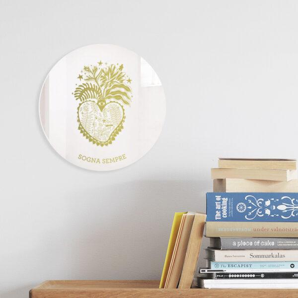 Specchio ex-voto Sogna Sempre | Cuori Sacri illustrazione di Enrica Mannari | BiCA-Good Morning Design