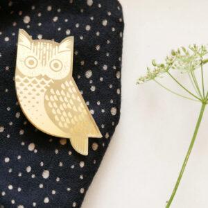 Spilla Gufo Portafortuna | Spille animali dorate gioielli di design e artigianato digitale a Milano | BiCA-Good Morning Design