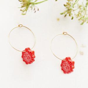 Orecchini a cerchio con rose   Orecchini floreali illustrazione di Enrica Mannari per BiCA-Good Morning Design