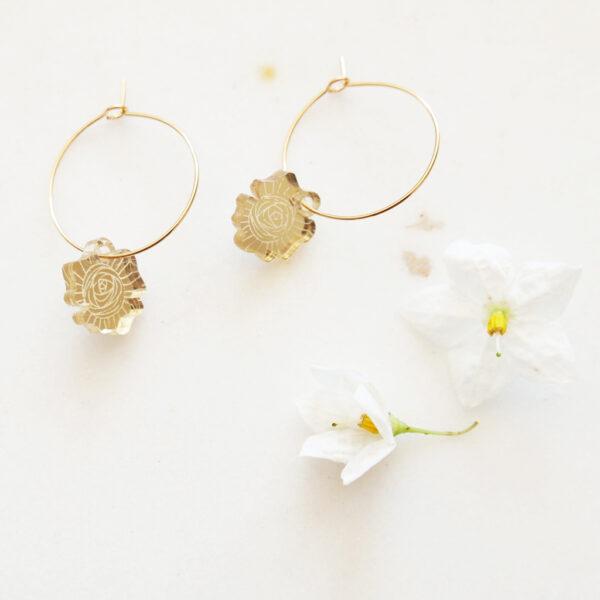 Orecchini a cerchio con rose | Orecchini floreali illustrazione di Enrica Mannari per BiCA-Good Morning Design