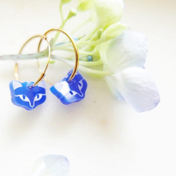 Kitten hoop earrings | Orecchini Gattini a cerchio | Gioielli con silhouette animali di design e artigianato digitale a Milano | BiCA-Good Morning Design