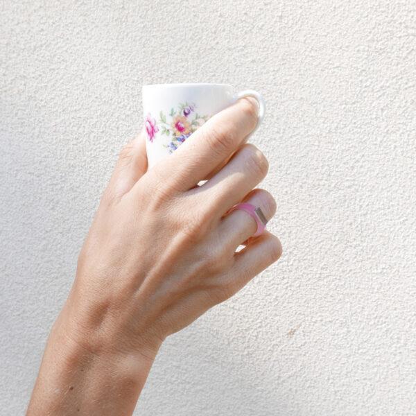 Sunrise. Anello minimal di design rosa e oro, argento, bronzo   Gioielli Milano   BiCA-Good Morning Design