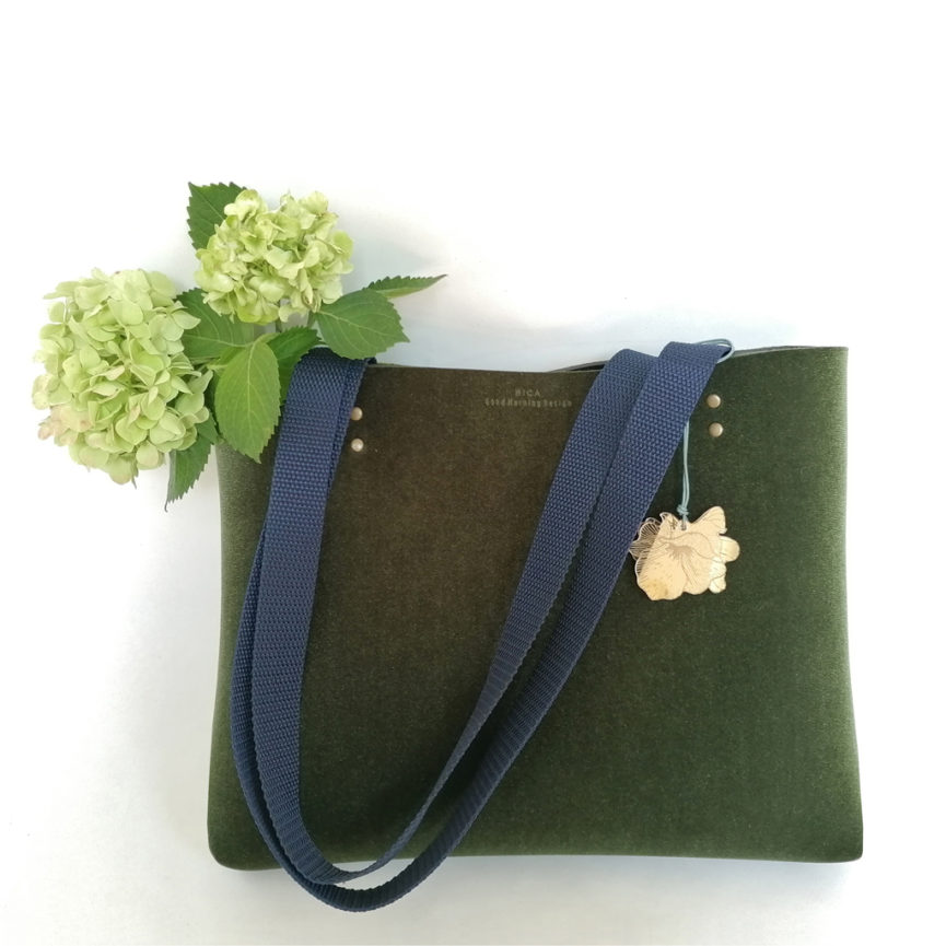 Tote Bag velluto verde e neoprene | borse fatte a mano in Italia | design italiano | BiCA-Good Morning Design