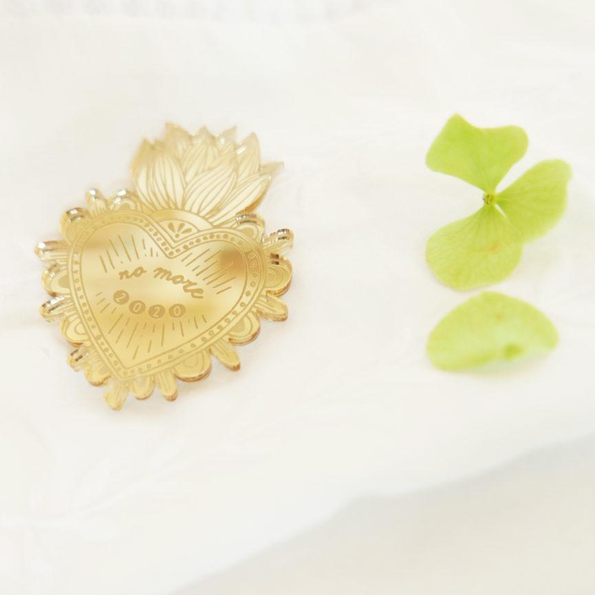 Spilla Cuore Sacro No More 2020 | Spille portafortuna specchio oro | ex-voto | design made in Milano | BiCA-Good Morning Design
