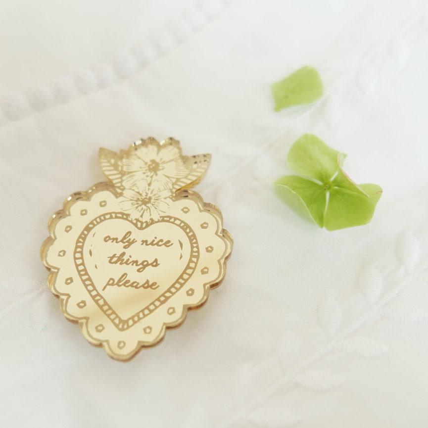 Spilla Cuore Sacro Only Nice Things | portafortuna oro specchiante | ex-voto | design made in Milano | BiCA-Good Morning Design
