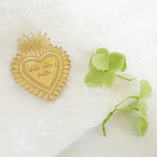Spilla Cuore Sacro Solo cose Belle | portafortuna oro specchiante | ex-voto | design made in Milano | BiCA-Good Morning Design
