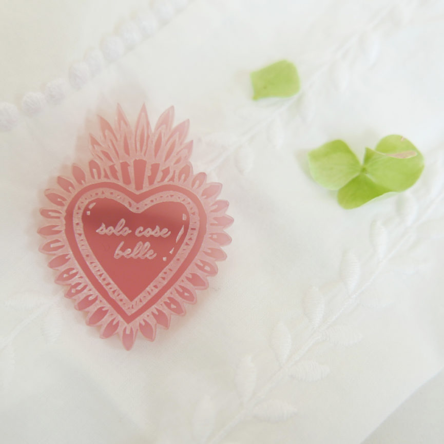 Spilla Cuore Sacro Solo cose Belle | portafortuna rosa | ex-voto | design made in Milano | BiCA-Good Morning Design