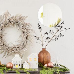 Sciatore. SPECCHI INVERNO | specchio tondo con decorazione oro | idea originale per la casa come regalo di Natale | BiCA - Good Morning Design