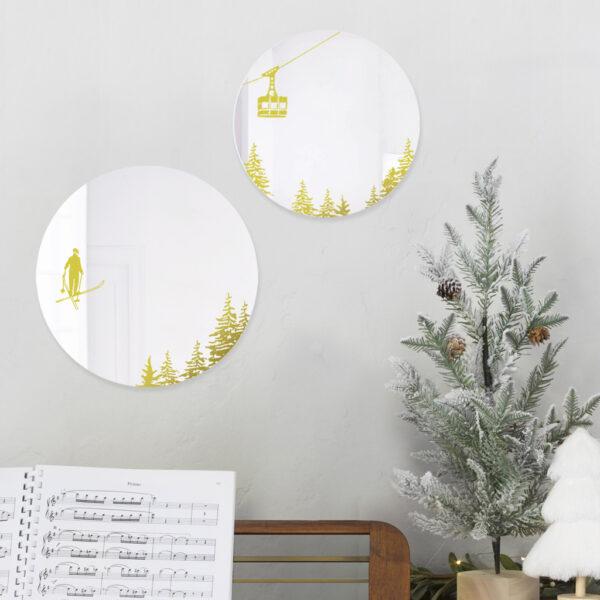 SPECCHI INVERNO | specchio tondo con decorazione oro | idea originale per la casa come regalo di Natale | BiCA - Good Morning Design