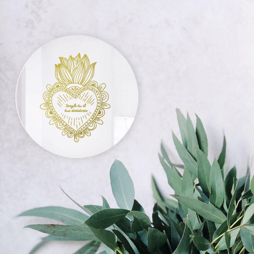 Specchio personalizzato con il tuo desiderio | tondo cuore sacro | BiCA - Good Morning Design