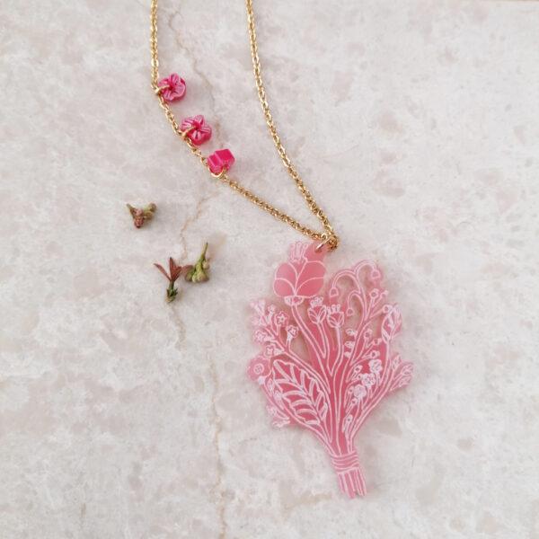 Collana lunga Bouquet | illustrazione di Monika Forsberg | BiCA-Good Morning Design | acrilico rosa