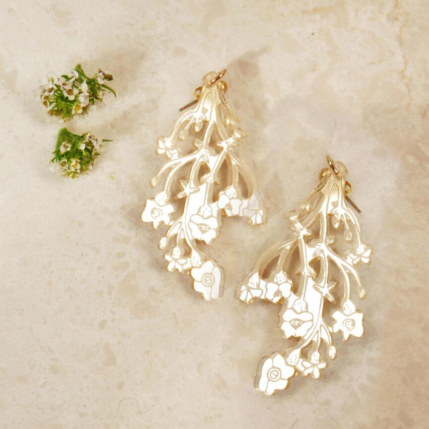 Orecchini floreali Fiori di Campo | specchio oro | illustrazione di Monika Forsberg | BiCA-Good Morning Design