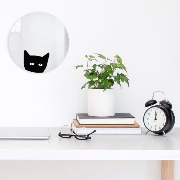 Specchio tondo decorativo con gatto   La chatte   Mirror   Morena Fortino   BiCA - Good Morning Design