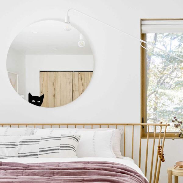 Grande Specchio tondo decorativo con gatto | La chatte | Mirror | Morena Fortino | BiCA - Good Morning Design