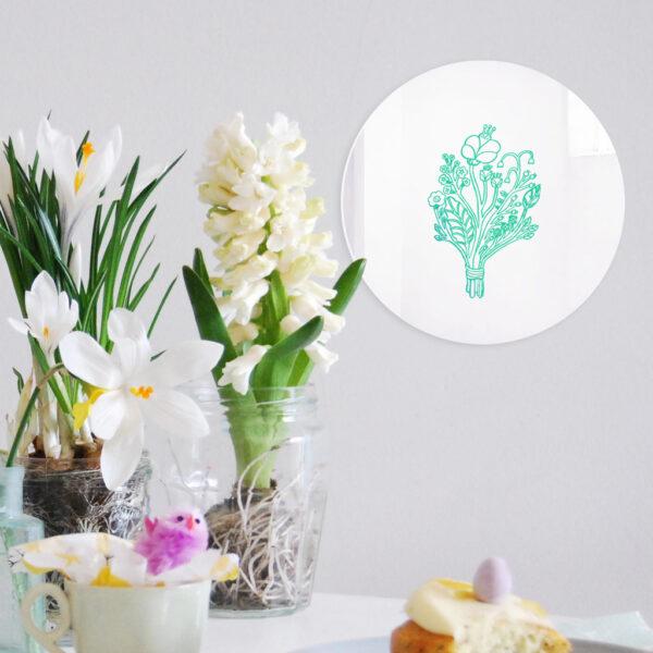Specchio decorativo Bouquet con illustrazione turchese di Monika Forsberg | BiCA-Good Morning Design