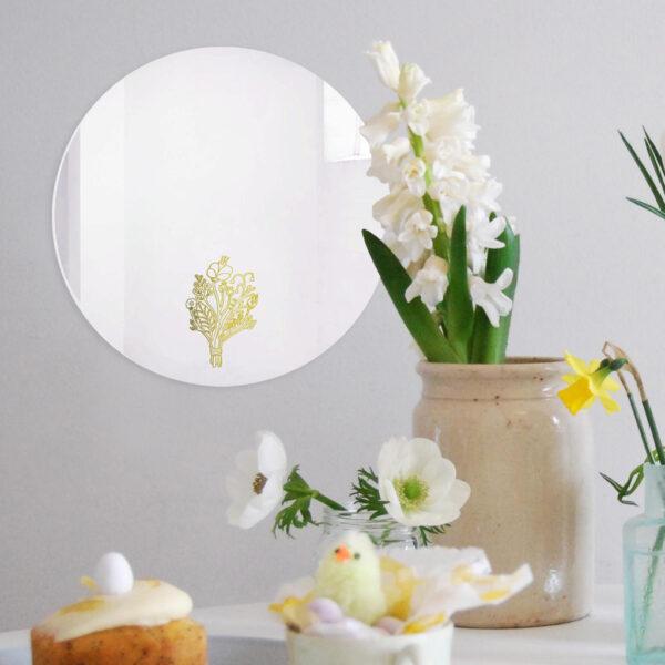 Specchio decorativo Bouquet con illustrazione oro di Monika Forsberg   BiCA-Good Morning Design